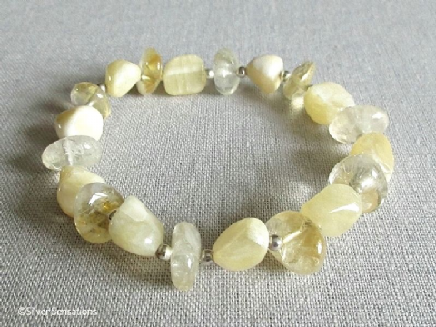 Pastel Lemon Yellow Calcite Nuggets, Citrine Nuggets & Sterling Silver Summery Bracelet